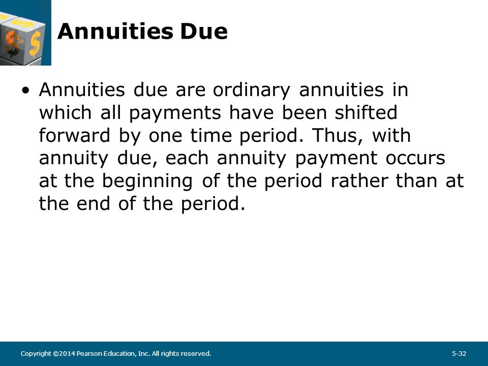 Copyright ©2014 Pearson Education, Inc. All rights reserved.5-32 Annuities Due Annuities due are ordinary annuities in which all payments have been sh
