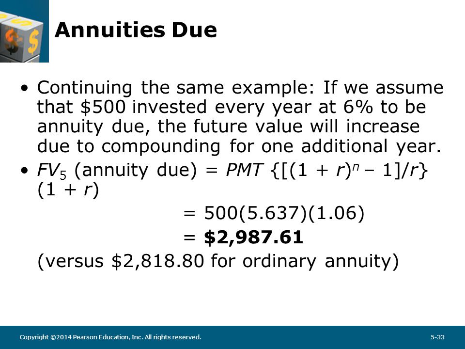 Copyright ©2014 Pearson Education, Inc. All rights reserved.5-33 Annuities Due Continuing the same example: If we assume that $500 invested every year