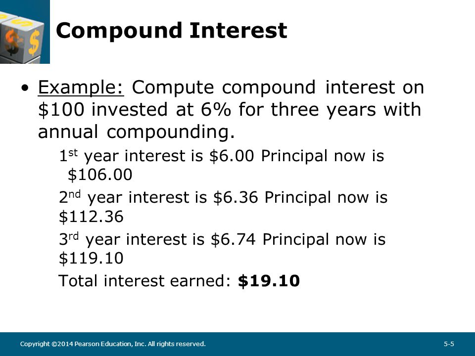 Copyright ©2014 Pearson Education, Inc. All rights reserved.5-5 Compound Interest Example: Compute compound interest on $100 invested at 6% for three