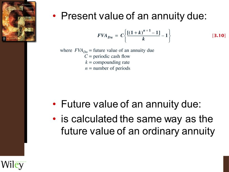 Present value of an annuity due: Future value of an annuity due: is calculated the same way as the future value of an ordinary annuity