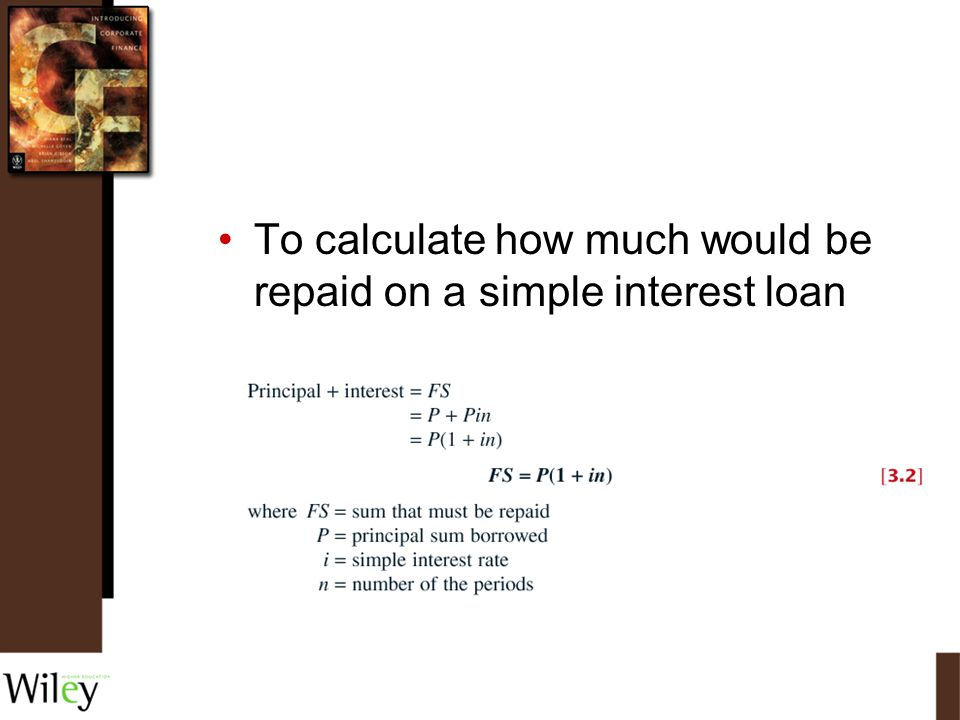 To calculate how much would be repaid on a simple interest loan