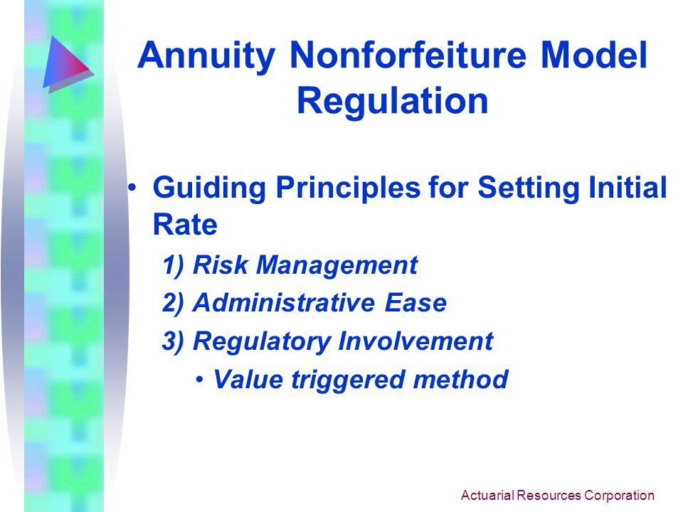 Actuarial Resources Corporation Annuity Nonforfeiture Model Regulation Initial Draft Model Regulation already developed Primary Issues –Setting Initial Rate and Disclosure of Method –Equity-Indexed Products