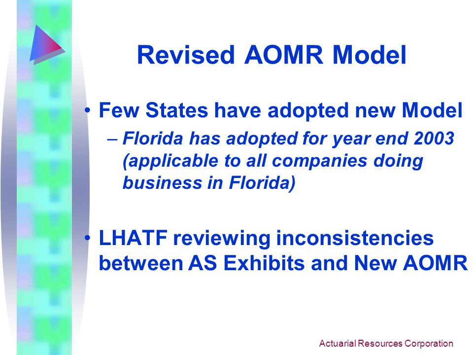Actuarial Resources Corporation Revised AOMR Model Few States have adopted new Model –Florida has adopted for year end 2003 (applicable to all companies doing business in Florida) LHATF reviewing inconsistencies between AS Exhibits and New AOMR