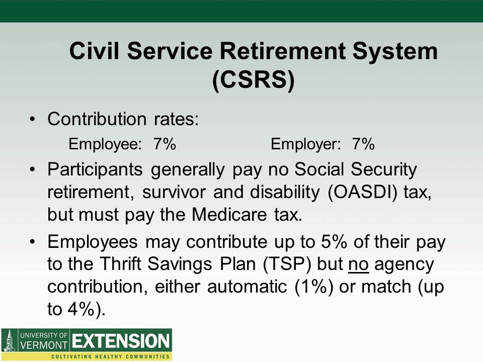 Civil Service Retirement System (CSRS) Contribution rates: Employee: 7%Employer: 7% Participants generally pay no Social Security retirement, survivor and disability (OASDI) tax, but must pay the Medicare tax.
