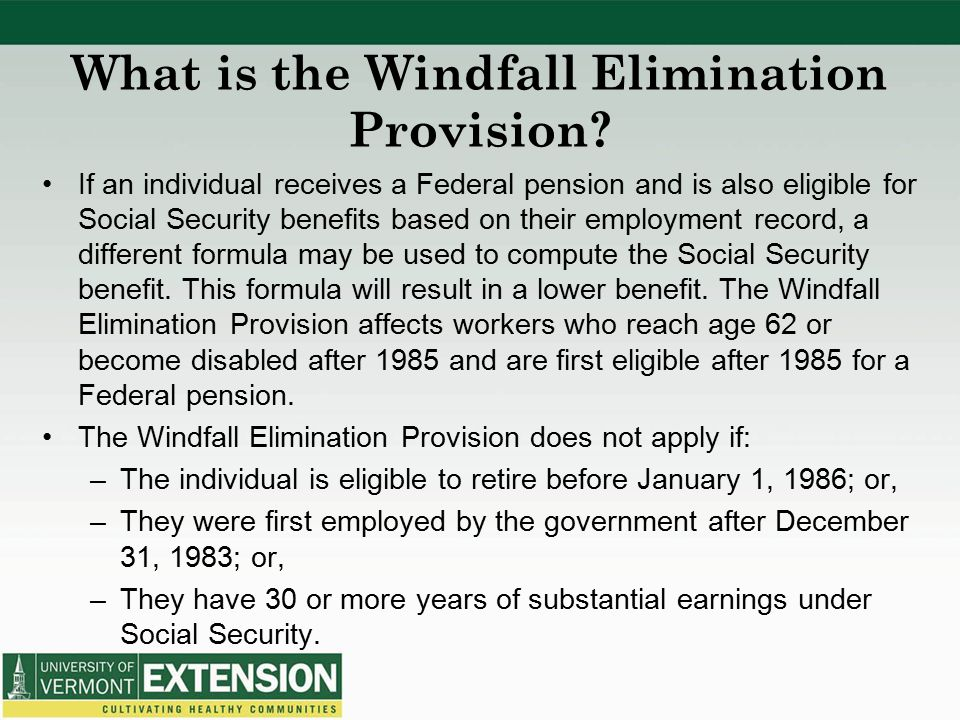 What is the Windfall Elimination Provision.