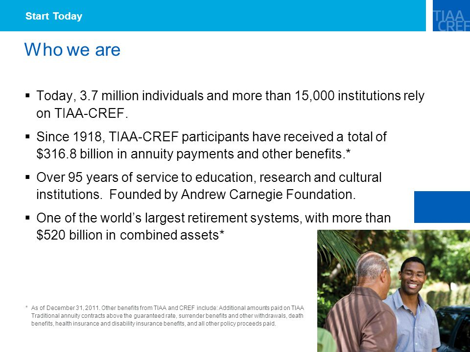 Who we are  Today, 3.7 million individuals and more than 15,000 institutions rely on TIAA-CREF.