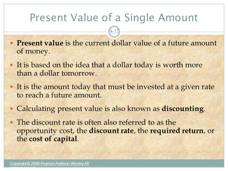 Present Value of a Single Amount Copyright © 2006 Pearson Addison-Wesley.