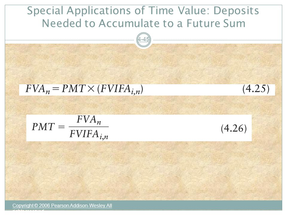 Special Applications of Time Value: Deposits Needed to Accumulate to a Future Sum Copyright © 2006 Pearson Addison-Wesley.