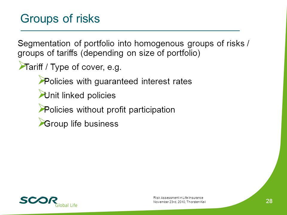 Risk Assessment in Life Insurance November 23rd, 2010, Thorsten Keil 28 Segmentation of portfolio into homogenous groups of risks / groups of tariffs (depending on size of portfolio)  Tariff / Type of cover, e.g.