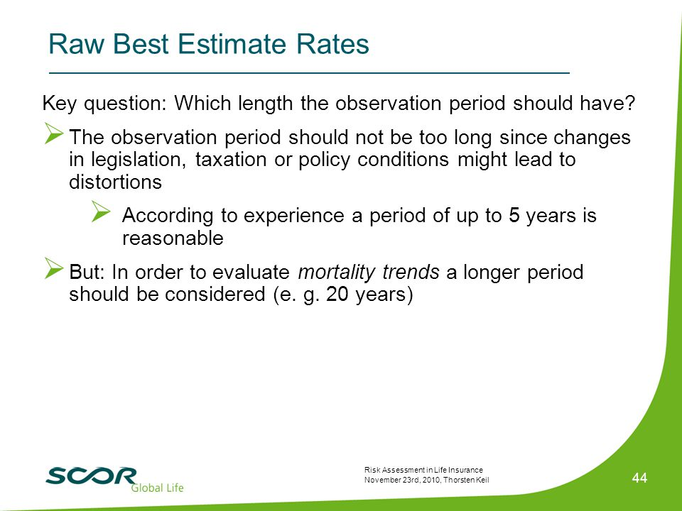 Risk Assessment in Life Insurance November 23rd, 2010, Thorsten Keil 44 Key question: Which length the observation period should have.