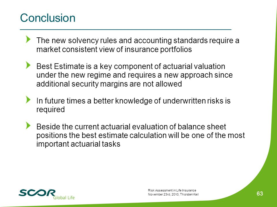 Risk Assessment in Life Insurance November 23rd, 2010, Thorsten Keil 63 Conclusion The new solvency rules and accounting standards require a market consistent view of insurance portfolios Best Estimate is a key component of actuarial valuation under the new regime and requires a new approach since additional security margins are not allowed In future times a better knowledge of underwritten risks is required Beside the current actuarial evaluation of balance sheet positions the best estimate calculation will be one of the most important actuarial tasks