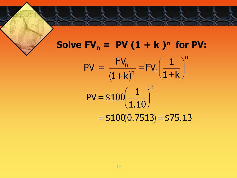 15 Solve FV n = PV (1 + k ) n for PV: