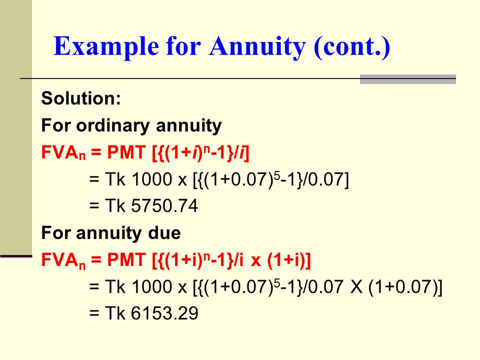 Example for Annuity (cont.) Solution: For ordinary annuity FVA n = PMT [{(1+i) n -1}/i] = Tk 1000 x [{(1+0.07) 5 -1}/0.07] = Tk 5750.74 For annuity due FVA n = PMT [{(1+i) n -1}/i x (1+i)] = Tk 1000 x [{(1+0.07) 5 -1}/0.07 X (1+0.07)] = Tk 6153.29