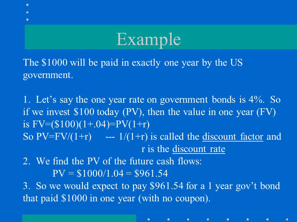 Example The $1000 will be paid in exactly one year by the US government.