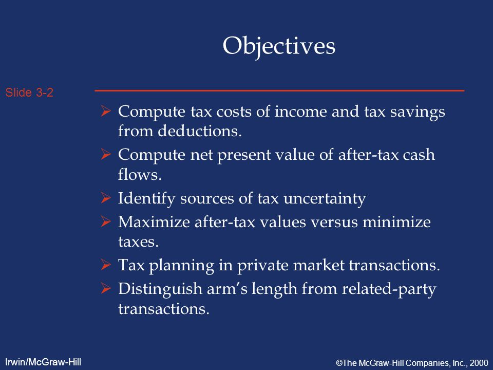 Slide 3-3 Irwin/McGraw-Hill ©The McGraw-Hill Companies, Inc., 2000 Taxes as transaction cost  Goal - MAXIMIZE AFTER-TAX values,  NOT MINIMIZE TAXES