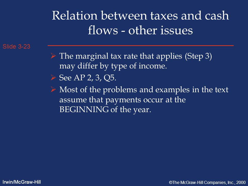 Slide 3-23 Irwin/McGraw-Hill ©The McGraw-Hill Companies, Inc., 2000 Relation between taxes and cash flows - other issues  The marginal tax rate that applies (Step 3) may differ by type of income.
