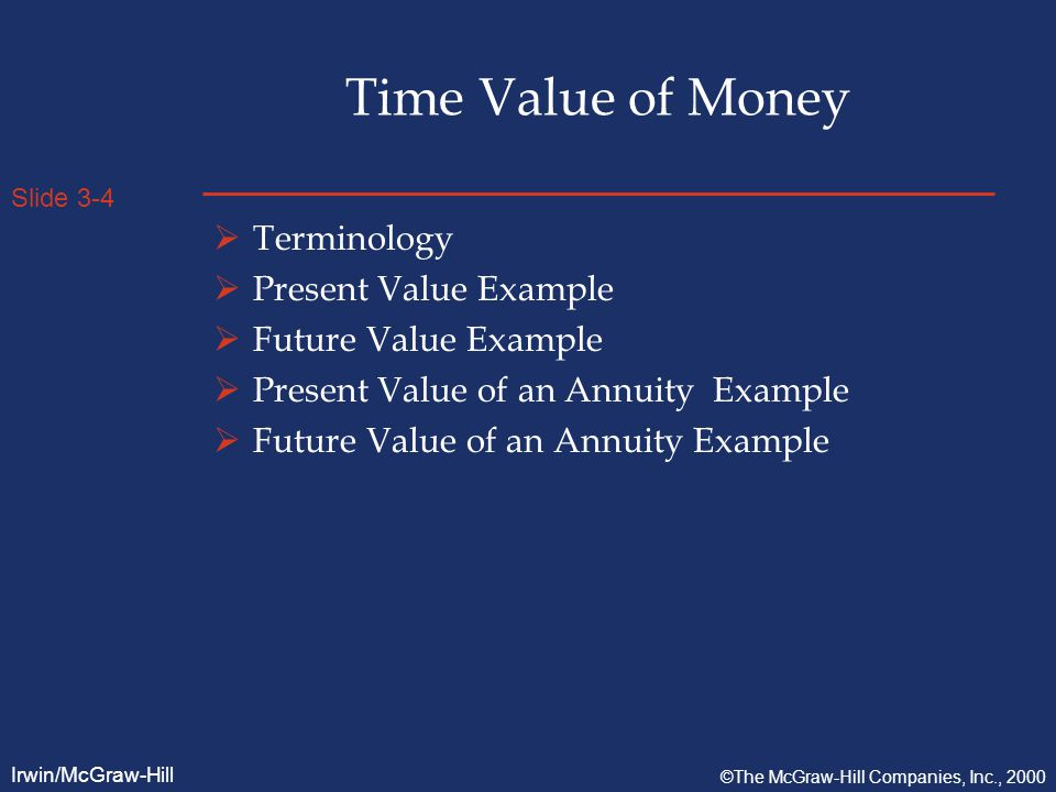 Slide 3-5 Irwin/McGraw-Hill ©The McGraw-Hill Companies, Inc., 2000 Time Value of Money  Terminology  Time Value of Money: this refers to the notion that a dollar available today is worth more than a dollar to be received in some future period.