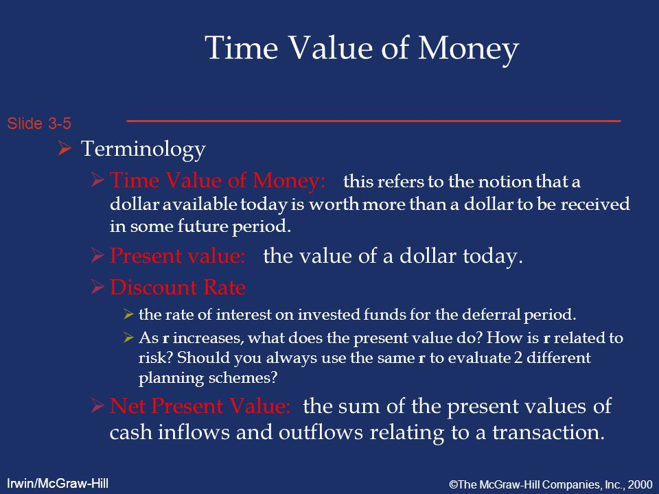 Slide 3-6 Irwin/McGraw-Hill ©The McGraw-Hill Companies, Inc., 2000 Time Value of Money  Terminology  Future Value  The value at a future date of a sum increased by an interest rate.