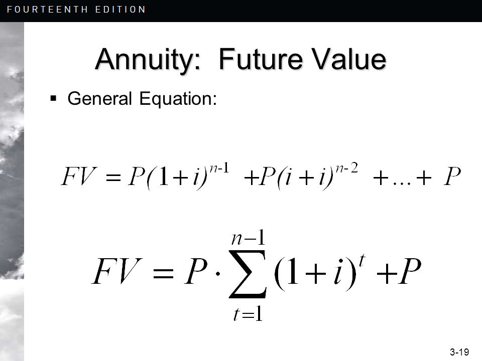 3-19 Annuity: Future Value  General Equation: