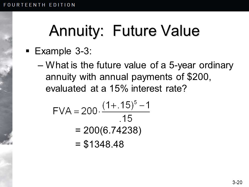 3-20 Annuity: Future Value  Example 3-3: –What is the future value of a 5-year ordinary annuity with annual payments of $200, evaluated at a 15% interest rate.