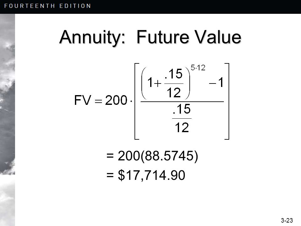 3-23 Annuity: Future Value = 200(88.5745) = $17,714.90
