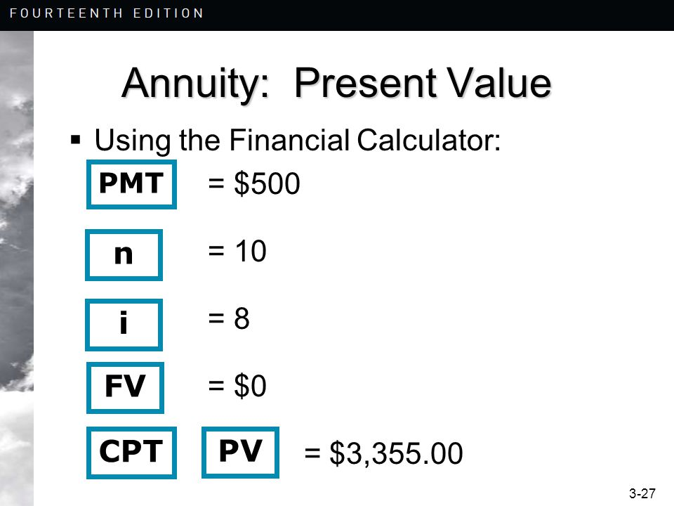 3-27 Annuity: Present Value  Using the Financial Calculator: = $500 = 10 = 8 = $0 = $3,355.00 n i CPT PV PMT FV