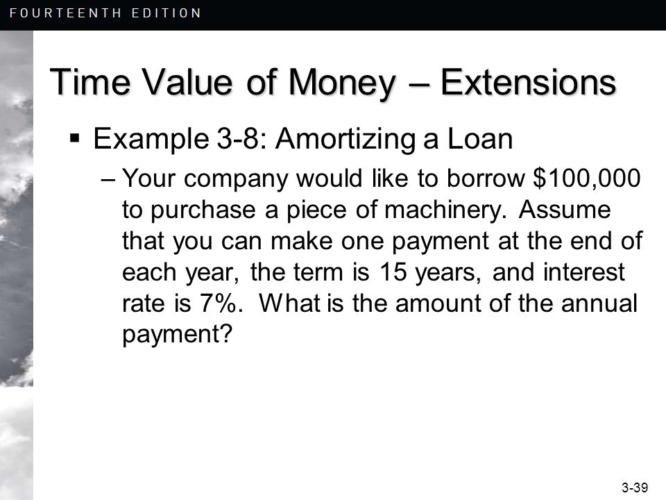 3-39 Time Value of Money – Extensions  Example 3-8: Amortizing a Loan –Your company would like to borrow $100,000 to purchase a piece of machinery.
