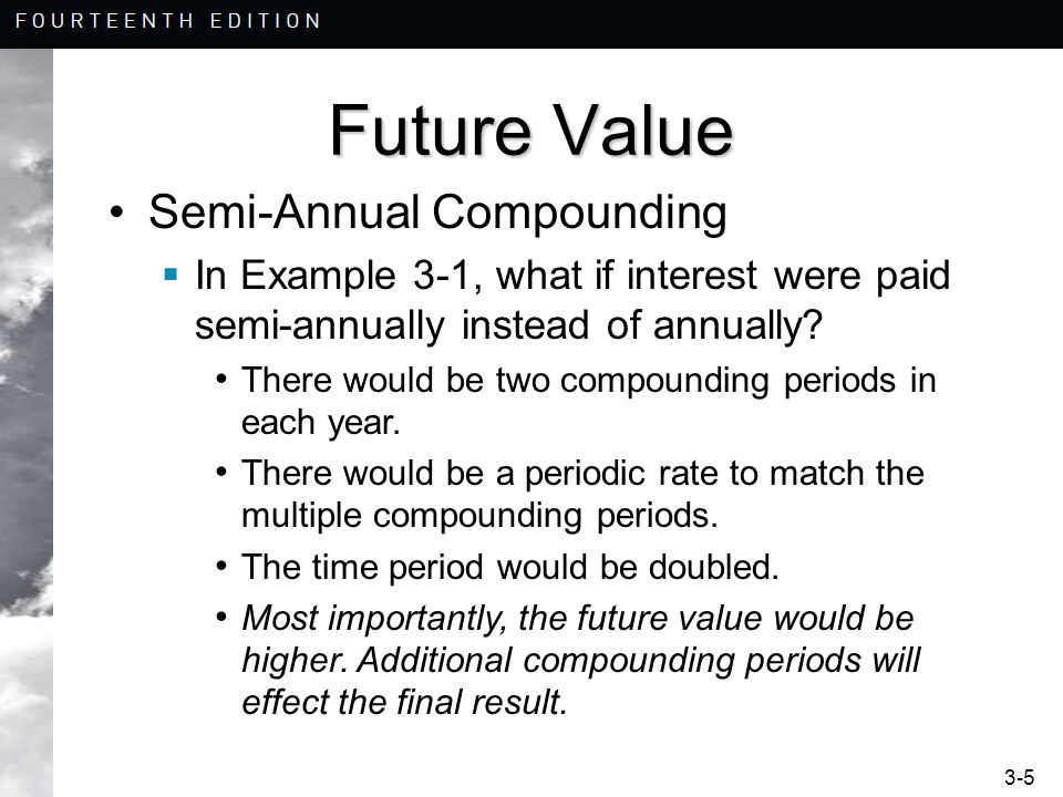 3-5 Future Value Semi-Annual Compounding  In Example 3-1, what if interest were paid semi-annually instead of annually.