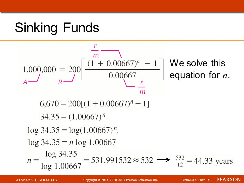 Copyright © 2014, 2010, 2007 Pearson Education, Inc.Section 8.4, Slide 18 Sinking Funds We solve this equation for n.