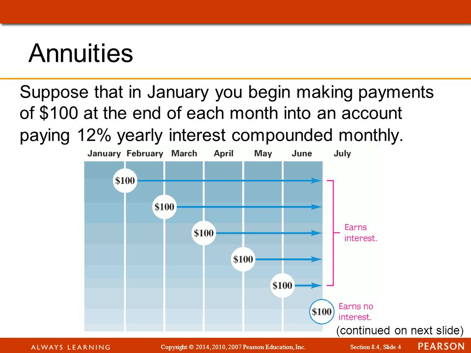 Copyright © 2014, 2010, 2007 Pearson Education, Inc.Section 8.4, Slide 4 Annuities Suppose that in January you begin making payments of $100 at the en