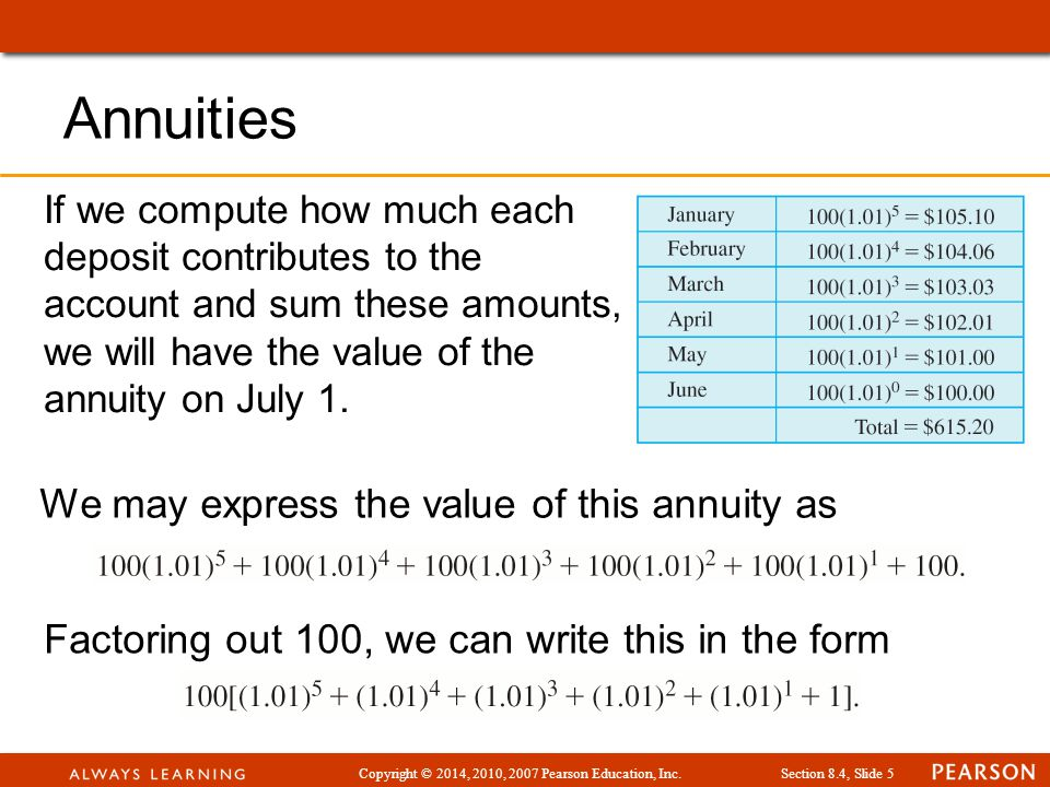 Copyright © 2014, 2010, 2007 Pearson Education, Inc.Section 8.4, Slide 6 Example: Show that Annuities