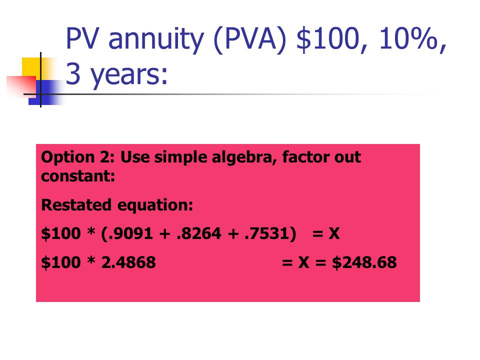 Option 2: Use simple algebra, factor out constant: Restated equation: $100 * (.9091 +.8264 +.7531) = X $100 * 2.4868= X = $248.68