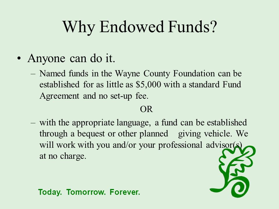 Today.Tomorrow. Forever. Why Endowed Funds. Anyone can do it.