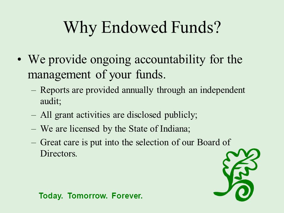 Today.Tomorrow. Forever. Why Endowed Funds.