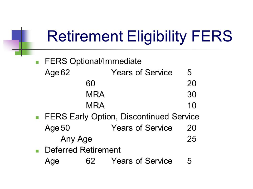 Retirement Eligibility FERS FERS Optional/Immediate Age62Years of Service 5 6020 MRA30 MRA10 FERS Early Option, Discontinued Service Age50Years of Ser