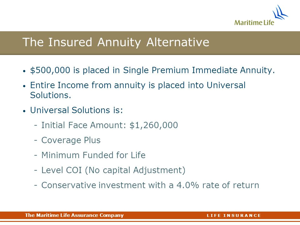 The Maritime Life Assurance Company The Maritime Life Assurance Company L I F E I N S U R A N C E The Insured Annuity Alternative $500,000 is placed in Single Premium Immediate Annuity.