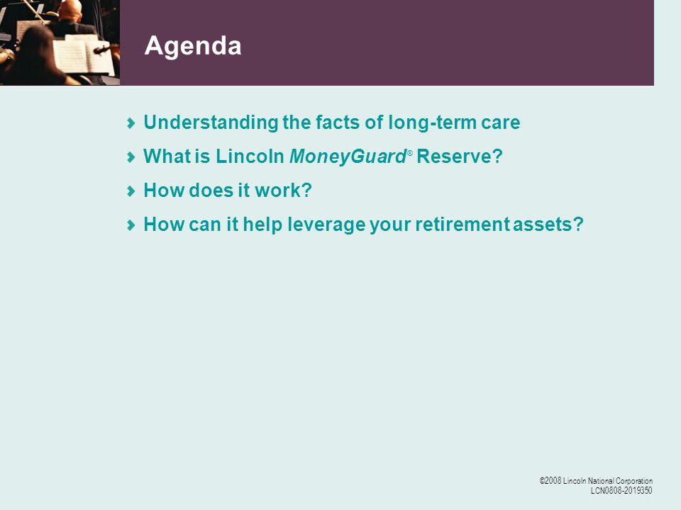 ©2008 Lincoln National Corporation LCN0808-2019350 LTC Reimbursement Hypothetical case study: leveraging assets Hypothetical example only.