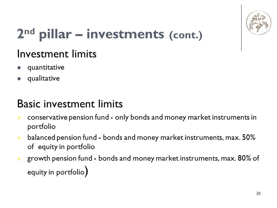 26 Investment limits quantitative qualitative Basic investment limits conservative pension fund - only bonds and money market instruments in portfolio