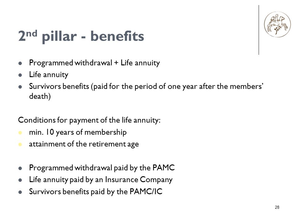2 nd pillar - benefits Programmed withdrawal + Life annuity Life annuity Survivors benefits (paid for the period of one year after the members' death) Conditions for payment of the life annuity: min.
