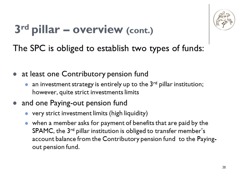 38 The SPC is obliged to establish two types of funds: at least one Contributory pension fund an investment strategy is entirely up to the 3 rd pillar institution; however, quite strict investments limits and one Paying-out pension fund very strict investment limits (high liquidity) when a member asks for payment of benefits that are paid by the SPAMC, the 3 rd pillar institution is obliged to transfer member's account balance from the Contributory pension fund to the Paying- out pension fund.