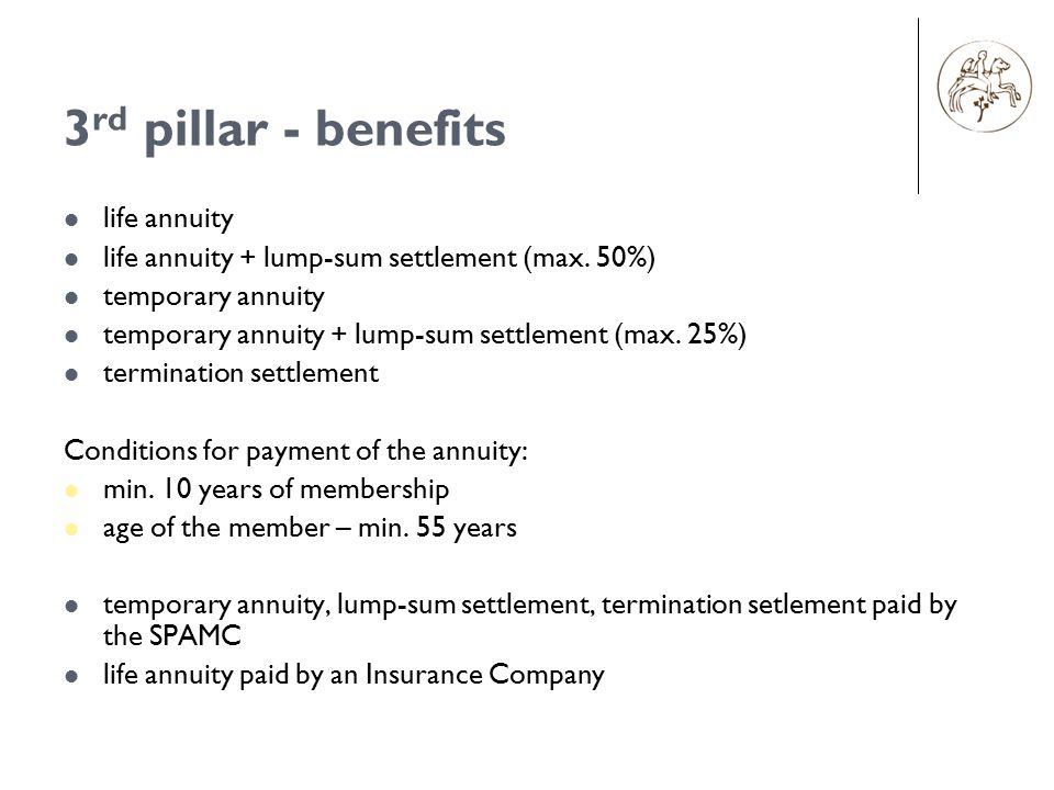 3 rd pillar - benefits life annuity life annuity + lump-sum settlement (max. 50%) temporary annuity temporary annuity + lump-sum settlement (max. 25%)