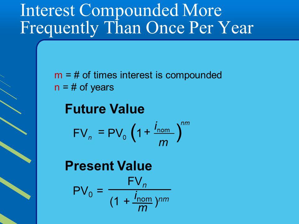 Interest Compounded More Frequently Than Once Per Year Future Value nm nom 0n m i 1PVFV )( += Present Value ) nm m i nom (1 + FV n PV 0 = m= # of times interest is compounded n = # of years