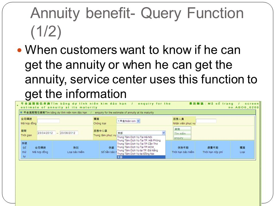 Annuity benefit- Query Function (1/2) When customers want to know if he can get the annuity or when he can get the annuity, service center uses this function to get the information