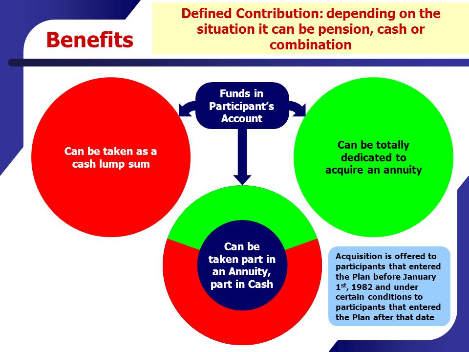 Benefits Defined Contribution: depending on the situation it can be pension, cash or combination Can be taken part in an Annuity, part in Cash Can be