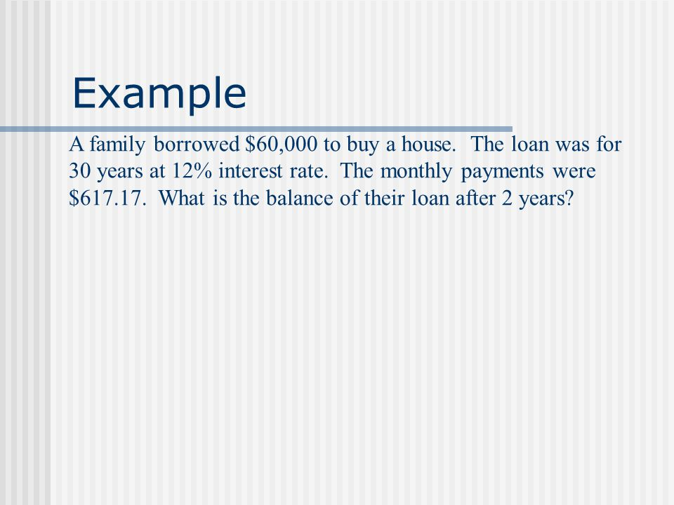 Balance of an Amortization The balance after n periods is the amount of compound interest minus the amount of an annuity. Mathematically we can find t