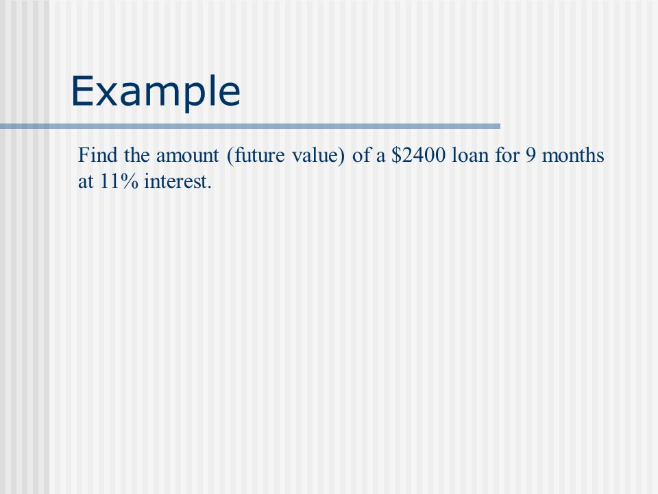 Example A student obtained a 24-month loan on a car.