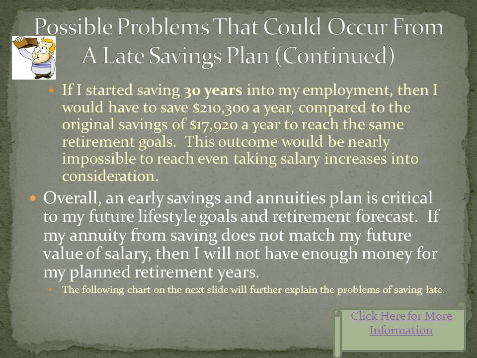 Engaging in a late savings plan can prove very detrimental, no matter what salary, bonus plans or incentives are offered. For example, if I were to fa