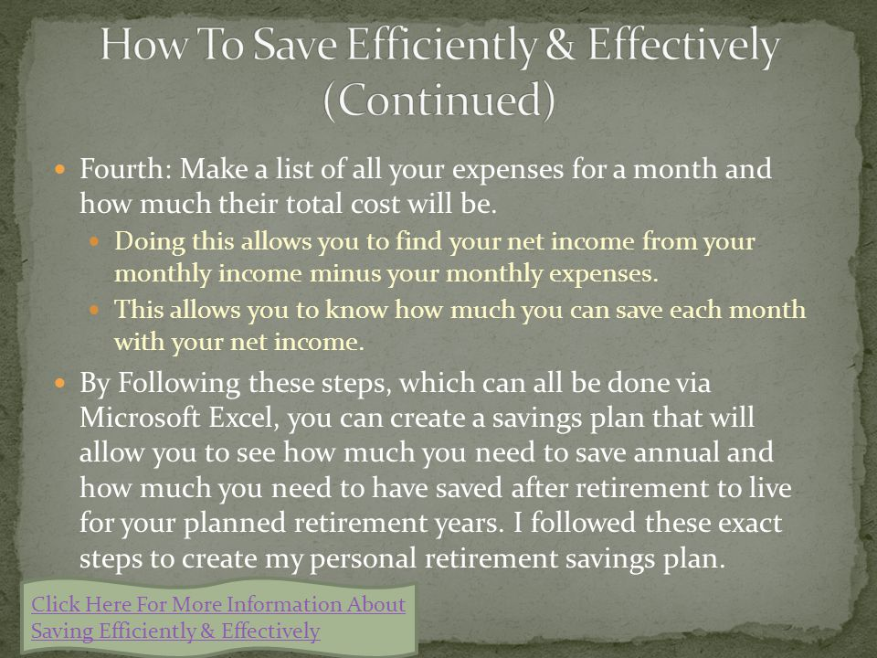 First: Decide how many career years you plan on having and how many years after retirement you plan on living. You should save for the same amount of