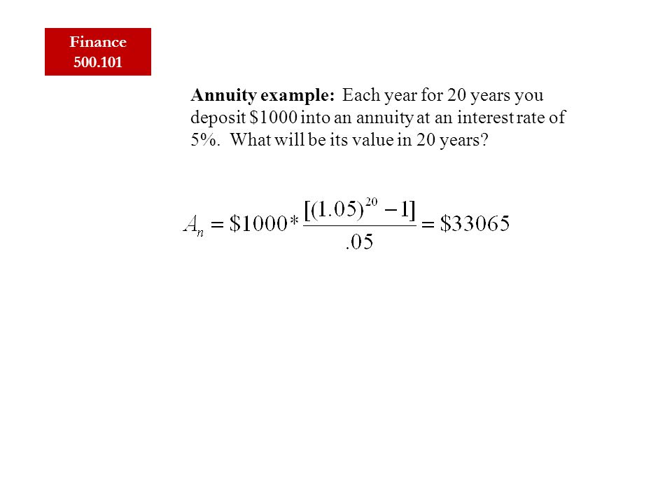 Finance 500.101 Annuity example: Each year for 20 years you deposit $1000 into an annuity at an interest rate of 5%.