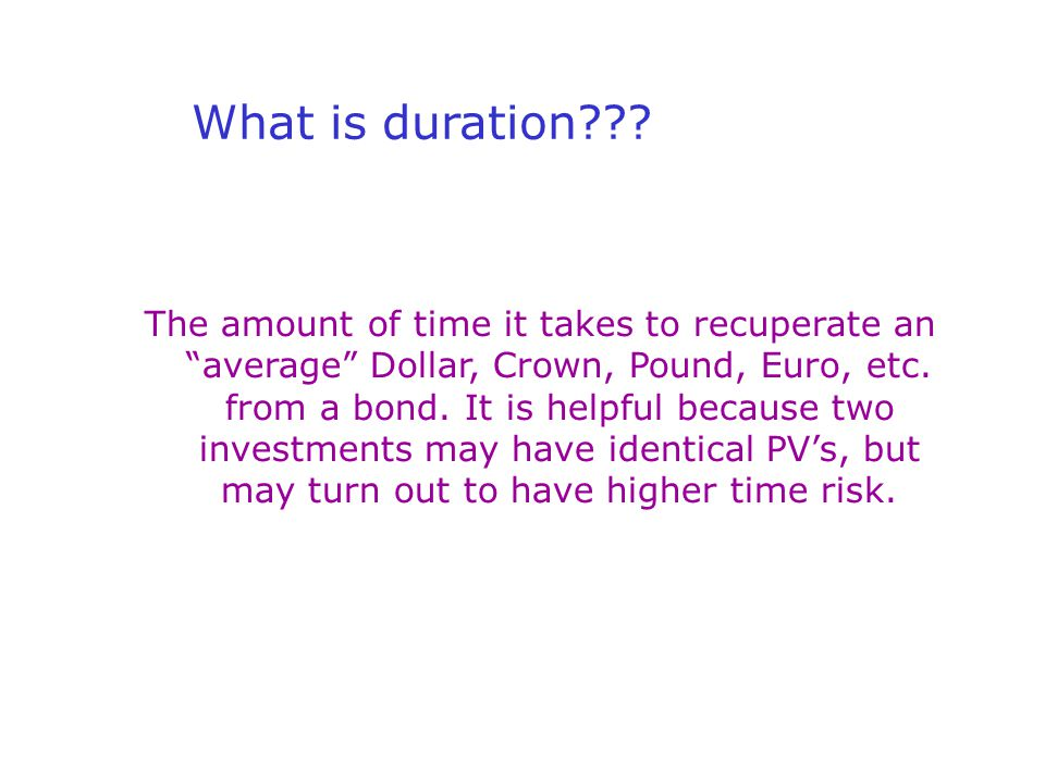 What is duration .